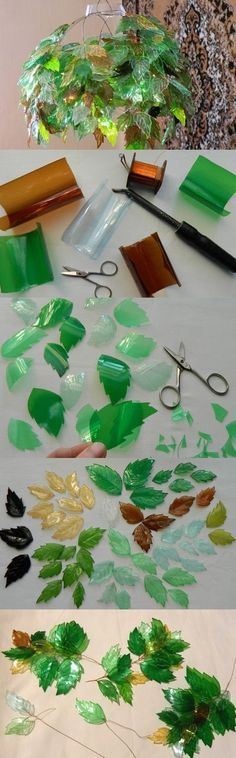 leaf chandelier.  looks like various soda bottles, wire, and a knife to make the holes for the wires to attach and to make the veins on the leaves.