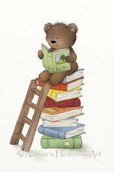 Cute Brown Teddy Bear Print, Nursery Room Art, Reading Books, Childrens Wall Art, Childs Print 8 x 1 Tatty Teddy, Brown Teddy Bear, Cute Teddy Bears, Childrens Wall Art, Bear Print, Nursery Wall Art, Nursery Room, Pics Art, Clipart