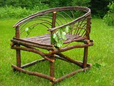 Maine Bowback Twig chair is part of Twig furniture - Nice Willow Furniture, Fairy Furniture, Cottage Furniture, Rustic Furniture, Furniture Design, Driftwood Furniture, Natural Furniture, Rustic Chair, Western Furniture