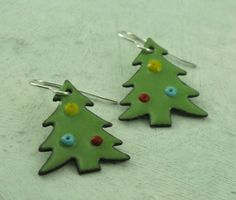Christmas Tree Earrings  glass enamel on copper by KathrynRiechert, $28.00