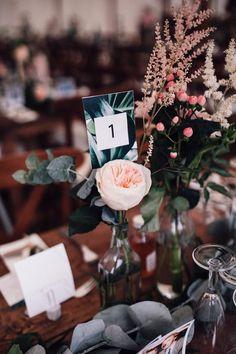 Blush Pink David Austin Rose Flower Stem with Eucalyptus in Bottle Tent Wedding, Home Wedding, Diy Wedding, Wedding Venues, Wedding Day, Pink Wedding Decorations, Pink Wedding Colors, Pink Wedding Dresses, Diy Peg Board