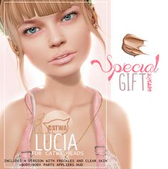 Lucia For Catwa Heads Special Gift Version. The supported mesh body parts are Slink, Lara, Belleza, plus Omega and BabyBump appliers are included.