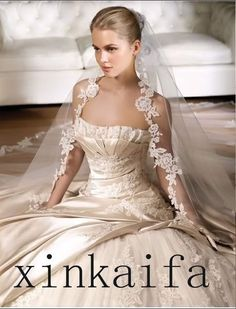Cheap Stunning Champagne Cathedral Bridal Wedding Dress Veil Comb Applique Comb