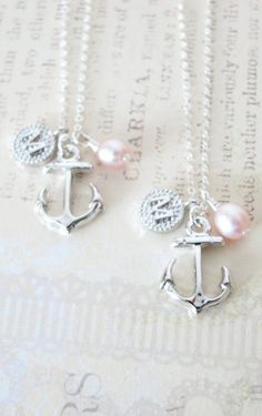 Personalized Anchor necklace  simple silver