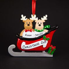 Off Shipping on or More Items Worldwide ------------------------------------------------------- Beautiful Hand Crafted Reindeer themed Christmas Ornament. I will hand-personalize your ornament in permanent black ink according to your Family Ornament, Christmas Tree Ornaments, Personalized Ornaments, Handmade Ornaments, Holiday Gifts, Christmas Gifts, Christmas Messages, Kraft Gift Boxes, Reindeer