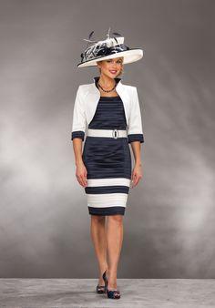 Short navy/cream dress & jacket D154 - Catherines of Partick