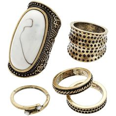 GS by gemma simone Cabochon Textured Ring Set ($25) ❤ liked on Polyvore featuring jewelry, rings, accessories, white, cabochon jewelry, hammered ring, cabochon ring, set rings and hammered jewelry