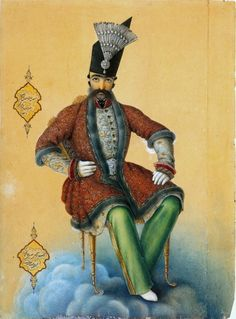 "Abu'l-Hasan Ghaffari (Sani' al-Molk) 1854 ""Portrait of Nassereddin Shah Qajar"""