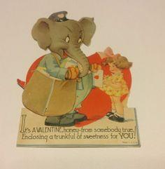 Charles Twelvetrees Valentine: Vintage Valentine card Elephant, Mailman, Honeycomb, Over 7inches Tall