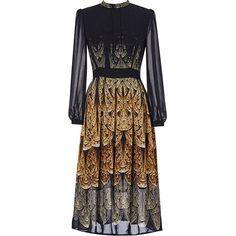 Black High Waist Animal Print Midi Dress (69 BRL) ❤ liked on Polyvore featuring dresses, animal print midi dress, high waist dress, calf length dresses, animal print dress and midi dress