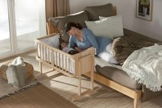 Arm's Reach® Co-Sleeper® Bassinets attach to any adult- sized bed, thus allowing parents to co-sleep with their newborns safely. http://babycosleeper.com/