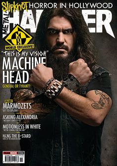 MHR263 Machine Head cover from 2014 for Metal Hammer Magazine in the UK. With photographer John McMurtrie.