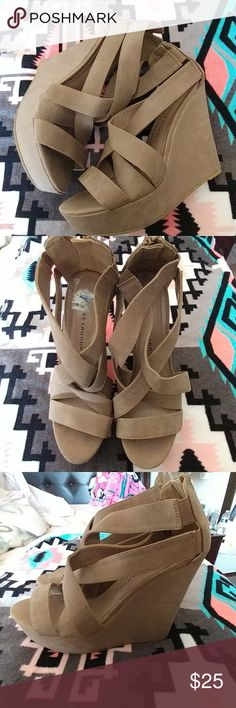 Chinese Laundry Wedge Heels Size-8 Light Brown/Tan Used once, wedge heels Size-8. Light Brown/Tan Chinese Laundry Shoes Wedges