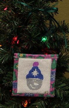 Snowman w. Stocking Cap Stamped Fabric Square Christmas Ornaments by KjgBoutique on Etsy