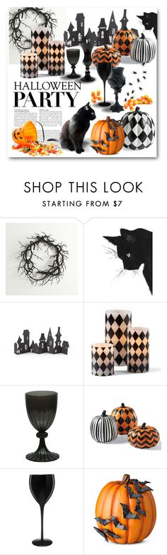 """""""#halloweenparty"""" by ellenawaters ❤ liked on Polyvore featuring interior, interiors, interior design, home, home decor, interior decorating, Crate and Barrel, Grandin Road, Madhouse and Artland"""