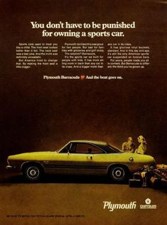 "1968 Plymouth Barracuda Yellow Car Ad ""Owning"""