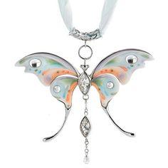 Women's #Fashion #Jewelry: White Porcelain #Butterfly Pendant #Necklace - Pendant Necklaces