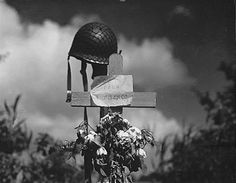 Tribute to a killed American soldier erected by French civilians in Carentan