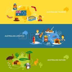 Australia viaje Conjunto de bandera plana con lifestyle turismo australiano naturaleza ilustración vectorial