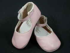 ADORABLE VINTAGE FELTMAN BROTHERS PINK LEATHER BABY GIRL SHOES NEWBORN SIZE 0