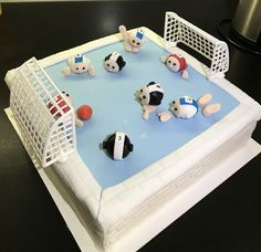 Waterpolo taart, februari 2017 Waterpolo, 21st Birthday Cakes, Cake Ideas, Baking Recipes, Fondant, Swimming Pools, Creative, Party, Wire
