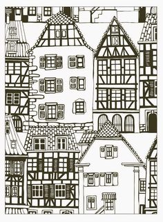 free coloring page coloring house style alsace france coloring house
