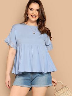 Plus Eyelet Embroidered Cuff Smock Top Trendy Plus Size Clothing, Plus Size Blouses, Plus Size Outfits, Casual Street Style, Street Style Women, Fashion News, Fashion Outfits, Women's Fashion, Classic Style Women