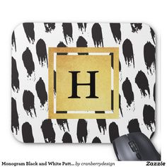 Monogram Black and White Pattern Mouse Pad