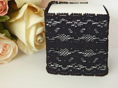 1 mtr x 6cm Width Stretchy Elastic Black Lace - Perfect for Wedding Invitations or bomboniere boxes! - Hall Occasions