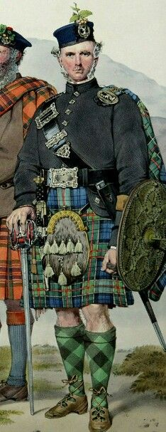 Angus Colquhoun painted by Kenneth MacLeay. The sporran has an 18th Century cantle. It was lent to him from the clan estate at Rossdhu.