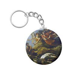 Mythology Basic Round Button Keychain #Mythological #Mythology #Painting #Art #Vintage #Keychain