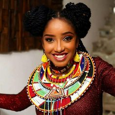 Look no further for African accessories inspiration! African Wear, African Women, African Fashion, African Beads Necklace, African Jewelry, Ethiopian Wedding, African Accessories, African Head Wraps, Special Occasion Outfits