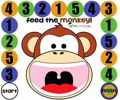 For Counting Crocodiles book - Free Printable Board Game for Toddlers and PreK: Feed the Monkey Toddler Board Games, Free Board Games, Math Board Games, Games For Toddlers, Dice Games, Free Preschool, Preschool Kindergarten, Toddler Preschool, Preschool Activities