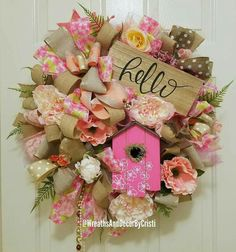Your place to buy and sell all things handmade Tulle Wreath, Diy Wreath, Floral Wreath, Wreath Making, Wreath Ideas, Cheap Wreaths, How To Make Wreaths, Deco Mesh Wreaths, Door Wreaths