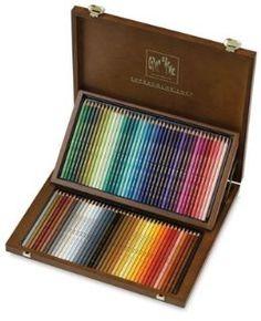 Estojo de madeira com 80 Lápis de cor aquarela Caran D´Ache