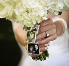 One of my brides chose to attach photos of loved ones who had passed onto her bouquet.  Only she knew what she was holding close to her heart.  Very poignant, touching, and real.  Rev. Jude Smith/Hudson Valley Weddings.  Destination weddings a specialty - your place or mine!