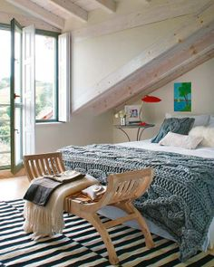 I like driftwood look of white wash beams and the really chunky sweater throw/blanket for the bedroom..