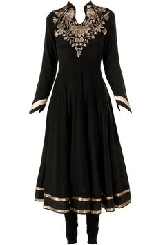 New vintage Black zari embroidered kurta set available only at Pernia's Pop-Up Shop.