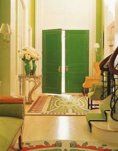 green laquered doors.