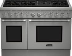 Thermador PRG486NLH 48 Inch Pro-Style Gas Range with 6 Sealed Star Burners, 7.0 Total cu. ft. Convection Ovens, Electric Grill, ExtraLow Simmer Burners, Telescopic Racks, Self-Cleaning Mode and Star-K Certified: Natural Gas