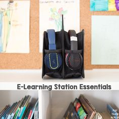 E-Learning Station Essentials - Munchkins and Moms Public School, School Days, Screen Wipes, Amazon Fire Tablet, First Grade Lessons, Learning Stations, Organization Station, Thirty One Bags, Seesaw
