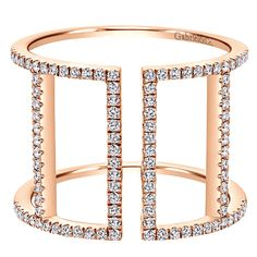 14k Pink Gold Diamond Fashion Ladies' Ring | Gabriel & Co NY | LR50896K45JJ