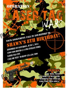 Camo Laser Tag Party Invite DIY Printable by Proverb31Creation, $12.00