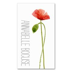 Watercolor Poppies Business Card Template