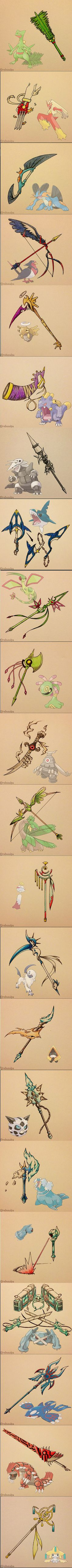 Aggron, Metagross, and Jirachi - some of my fav pokemon, epic weapons Pokemon Weapons