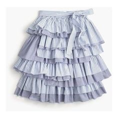 J. Crew Skirts | J Crew Collection Tiered Ruffle Tie Waist Skirt 4 | Poshmark Blue And White Style, Photo Colour, Ruffle Skirt, Blossoms, Waist Skirt, J Crew, Girly, Stripes, Tie