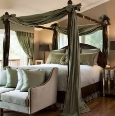 I always wanted a canopy bed (and a room big enough to have a bench at the end of it like this room does; a fireplace wouldn't hurt either!)