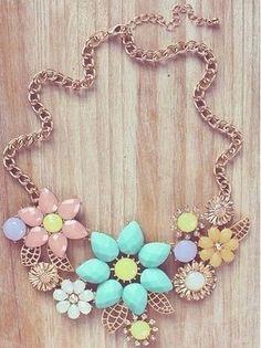Pastel flower statement necklace