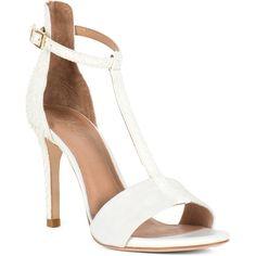 Susan Heels ($217) ❤ liked on Polyvore featuring shoes, pumps, heels, porcelain, snakeskin shoes, snake skin pumps, snakeskin pumps, t strap shoes and leather high heel shoes