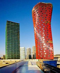 toyo ito's porta fira towers in plaza europa, fair of barcelona gran via venue - designboom